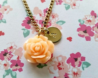 Hand Stamped Flower Necklace - Initial Gold Necklace -  Flower Girl - Bridesmaid Jewelry - Personalized Jewelry