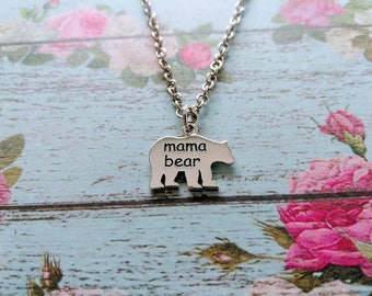 Mama Bear Necklace - Sterling Silver - Mother's Day jewelry - Mom Necklace