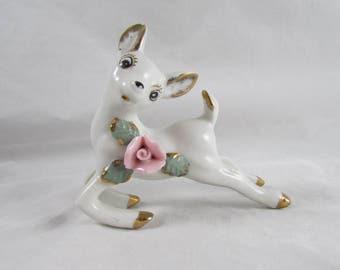 Porcelain Deer Fawn Figurine Made in Japan Kitsch