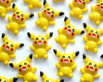 CandyCabsUK 4 Pokemon Pikachu Mixed Flatback Decoden Kit Craft DIY Resin Acrylic Decoden Embellishments