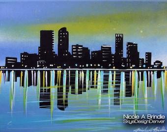 "Denver Skyline - Fantasy Art 11"" x 14"" Mixed Media on Canvas"