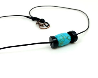Turquoise Necklace, Leather Necklace, December Birthstone, Turquoise and Obsidian Simple Necklace Natural Minimalist Necklace, Gift for Her