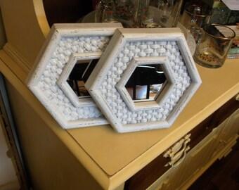 Pair of Vintage Homco Syroco Wall Mirrors Vintage Hexagon Mirrors