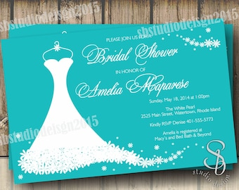 Wedding Dress Invitation Bridal Shower In Tiffany Blue