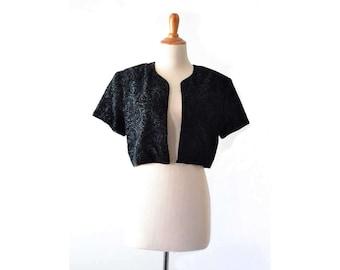 Black Bolero, Velvet Bolera, Velvet Cape, Velvet shawl, Velvet Shrug, 1980s Clothing, 80s Clothing