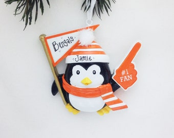 FREE SHIPPING CLEARANCE: Sports Fan Personalized Christmas Ornament / Orange and White Team Colors / Penguin Ornament / #1 Fan