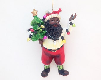 FREE SHIPPING African American Santa with Christmas Lights Personalized Christmas Ornament / Custom Name or Message / Christmas Gift