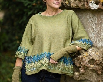 Linen Knit Top in Moss Green with Sari Silk Detail and Kimono Sleeves by Crooked Knitwear
