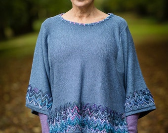Linen Knit Top in Periwinkle Blue with Sari Silk Detail and Kimono Sleeves by Crooked Knitwear