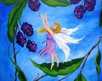 "Fairy Art - Fantasy - Yellow Hair - Fairy - Blackberries - Little Sprite - Giclee Print - Canvas - ""Picking Berries"""