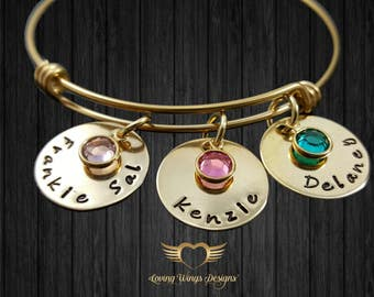 Mother's Bracelet, Custom Hand Stamped, Grandmother's Bracelet, Gold Birthstone Bracelet, Bangle Bracelet, Mothers Gift, Grandmother Gift