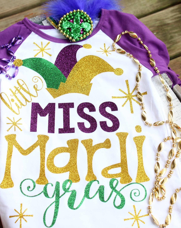 All Glitter Little Little Miss Mardi Gras Shirt Purple And