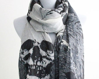 Skull and Leaf Scarf, Large Skull Scarf and Leaves, Halloween Skull, Skulls, Halloween Skulls, Holiday Scarf, Birthday Gift, Christmas Gift