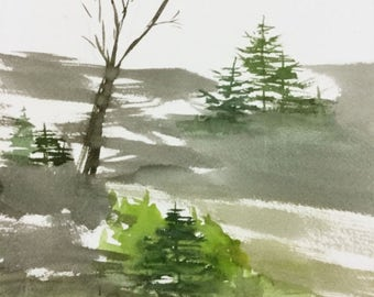 Scenic Landscape-Watercolor Painting-ORIGINAL Painting-not a print-Plein Aire-12X9