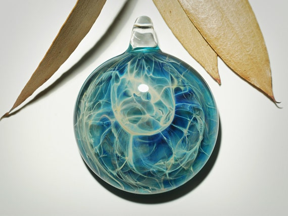 Peaceful Waters Pendant - Blown Glass Jewelry - Universe - Flameworked Boro - Free Shipping - Artist Direct - Vibrant and Glossy Smooth