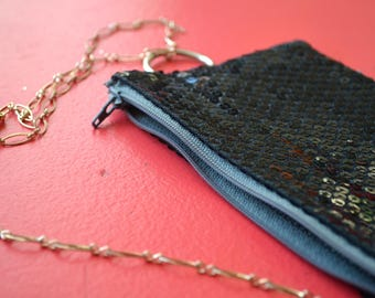 festival fanny pack - black sequined convertible hip bag / clutch / cross body bag - with gold tone chain belt