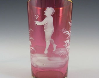 Mary Gregory Bohemian Hand Enamelled Pink Glass Tumbler