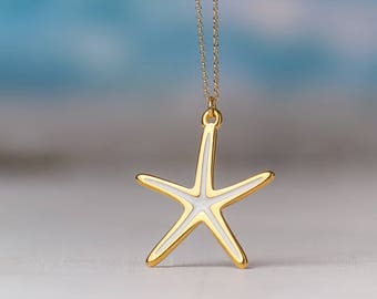 Large Starfish Necklace Enamel Necklace Seashell color Beach Jewelry Everyday jewelry Layering necklace Rose Gold Gold Birthday gift