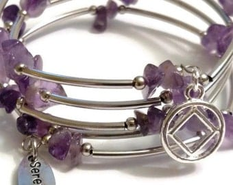 NA Amethyst Wrap Around Wire Bracelet With Silver Tone Charms – 12 Step Recovery Narcotics Anonymous