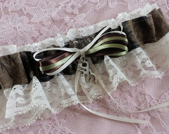 Hunting Deer Camo Camouflage Wedding Garter Belt W Ivory Lace Realtree Browning