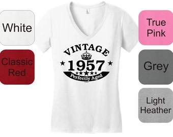 60th Birthday Gifts Vintage 1957 Perfectly Aged Juniors V-Neck T-Shirt DT6501 - BD-251
