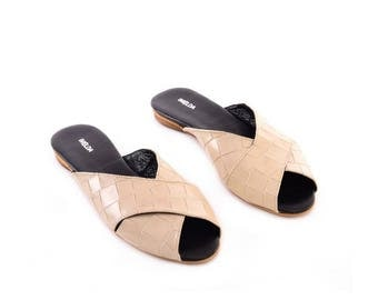 Flat sandals, Leather Sandals, Slides Sandals, Stone Sandals, Pointed Toe Flats, Handmade Sandals, Summer Shoes, Flats