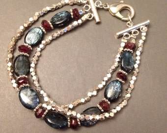 """Blue Kyanite Bracelet ~ Garnet bracelet ~ gemstone bracelet ~ Gift idea -Gemstone jewelry, blue and red jewelry, jewelry gift, """"Serpent"""""""