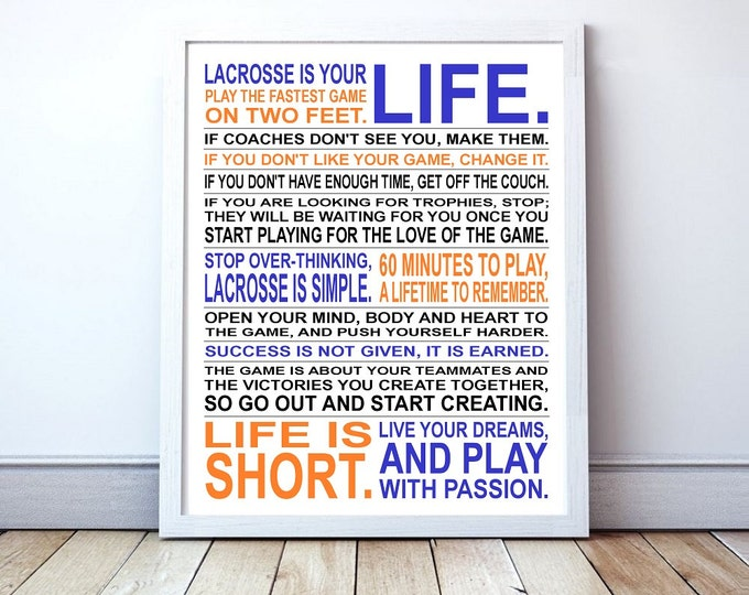 Lacrosse Is Your Life - Custom Manifesto Poster Print