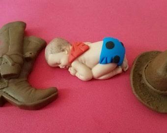 Fondant baby cowboy cake topper for baby shower, Birthday