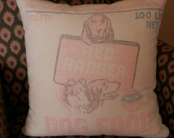 Red Ranger Dog Food feedsack pillow