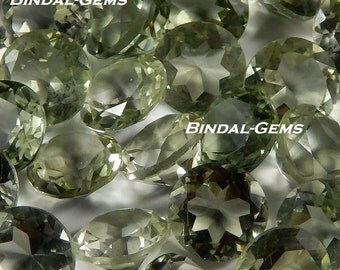 10 Pieces Wholesale Lot Green Amethyst Round Shape Faceted Cut Loose Gemstone For Jewelry