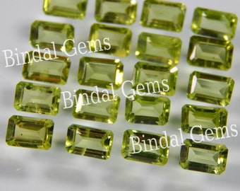 25 Pieces Natural Peridot Octagon Faceted Cut Gemstone
