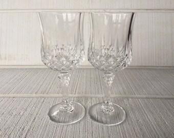 "Vintage 7"" Lead Crystal Water Goblets Wine Glasses, Cristal D Arques Durand Longchamp water glasses, vintage glassware, wedding toasting"
