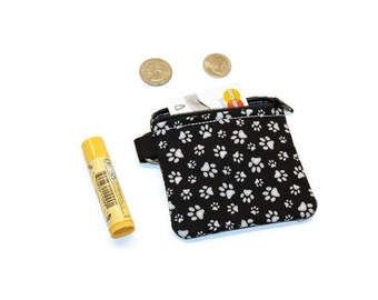 Paw print zippered cards / coin purse pouch. Dog cat lover gift idea stocking stuffer.