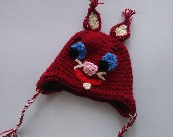 Squirrel hat, crochet squirrel beanie, animal hat, crochet baby hat, Red squirrel, knit baby boy hat