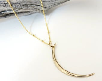 Gold Crescent Moon Necklace, Gold Crescent, Long Crescent, Skinny Crescent, Crescent Moon Necklace, Thin Crescent, Gold Moon Necklace,mhd