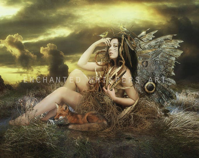 Mother nature fantasy fairy and fox art print