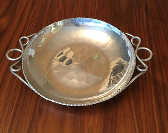 Vintage BUENILUM ALUMINUM TRAY Hand Wrought and Hammered