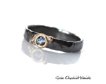 Alexandrite Ring, Organic Ring, Gold & Silver Alexandrite Ring, Handmade Alexandrite Ring, Wedding Band, Black and Gold, Coctail Ring