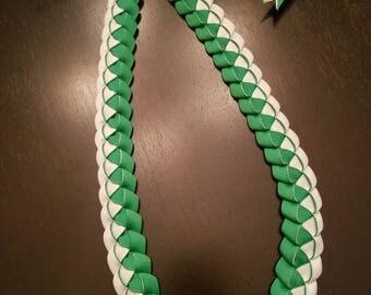 Graduation Lei - Ribbon Lei - Green and White Lei - READY TO SHIP