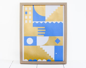 Poster illustration screen printed / small poster / minimalist poster / blue and gold
