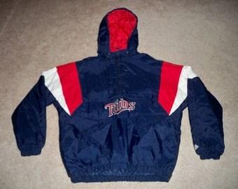 Vintage Majestic Minnesota Twins MLB Blue & Red Baseball Men's Pullover Jacket Coat Size XLarge XL