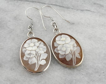 Lovely Floral Shell Cameo Drop Earrings, Beautiful Flower Cameo Wedding or Bridal Earrings D3LD10-N