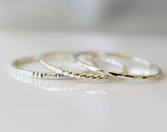 Silver Rings, Jewelry, Sterling Silver Stackable Ring Set, 3 Ring Set, Mixed Texture Rings, Stacking Rings, Hammered Stack Ring, Bark Ring
