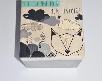 Wood - black Fox keepsake box. turquoise & white