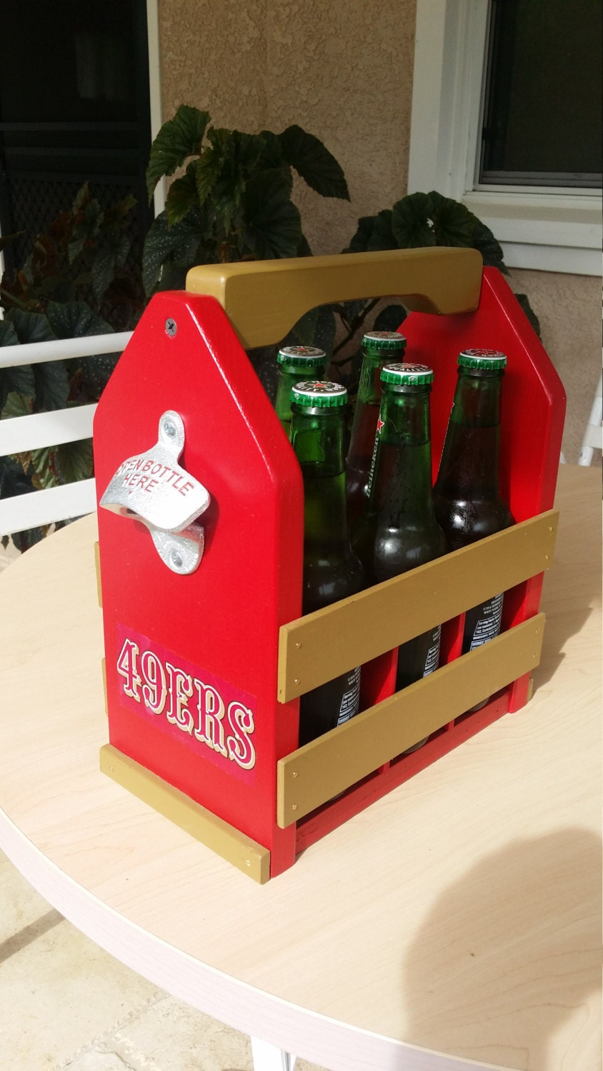 Wooden beer caddy craft beer gifts 6 pack by rocknroecreations for Craft beer gift set