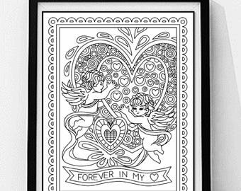 Cupid and Hearts Coloring Page. Love Coloring Page, Adult Coloring Page, Printable Wall Art, Gift for Her