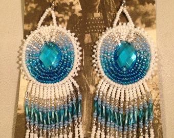 Aquamarine fade beaded hook earrings