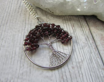 Garnet Gemstone Tree Of Life Pendant Necklace Silver Plated