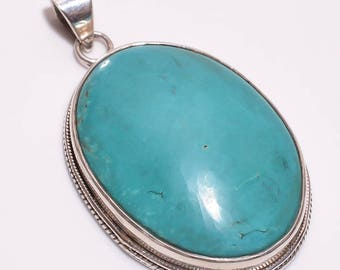 Exclusive Turquoise Stone Pendent with 925 Silver , 925 Sterling Silver Pendent with Turquoise Gemstone